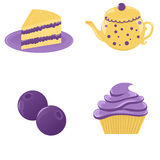 Blueberry desserts. Adorable blueberry desserts and a teapot Royalty Free Stock Photos