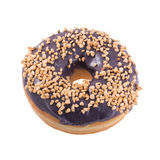 Blueberry donut with sprinkles. Isolated on white background top view Stock Image