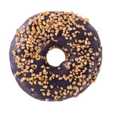 Blueberry donut with sprinkles. On white background top view Stock Image
