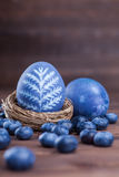 Blueberry easter eggs. Natural easter egg dyeing blue with blueberries Royalty Free Stock Images