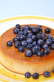 Blueberry flan. Vertical shot of delicious flan cheesecake topped with fresh blueberries on blue background with copy space Stock Images