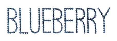 Blueberry font. Blueberries on white background. Bilberry fruit letters Royalty Free Stock Image
