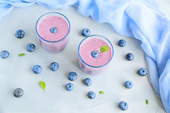 Blueberry Fresh and Cold Smoothie in Glasses Royalty Free Stock Photos