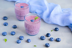 Blueberry Fresh and Cold Smoothies Royalty Free Stock Photo