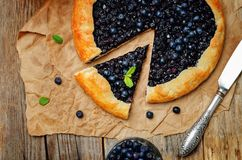 Blueberry galette with fresh blueberries Stock Photos