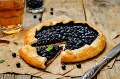 Blueberry galette with fresh blueberries Royalty Free Stock Photography
