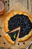 Blueberry galette with fresh blueberries Stock Images