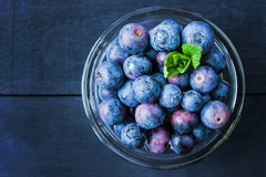 Blueberry in a glass bowl Stock Image