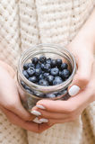 Blueberry in glass jar in female hands. Stock Images