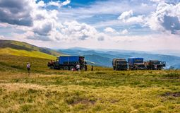 Blueberry harvesting in Carpathian mountains. Pylypets, Ukraine - July 23, 2016: blueberry harvesting in Carpathian mountains. location Gymba mountain of Stock Images