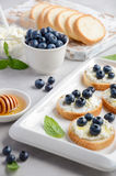 Blueberry and honey sandwiches, healthy breakfast concept stock images