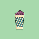Blueberry Ice-cream in cup with sprinkling. Cute cartoon blueberry icecream in cup with candy sprinkling. Sundae flat icon on green background. Minimal line Stock Images