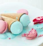 Blueberry ice cream with macaroons Stock Photos