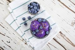 Blueberry ice cream on pewter cup Royalty Free Stock Image