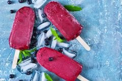 Blueberry ice cream on a stick with a blackberry. Cold berries sorbet with ice Royalty Free Stock Image