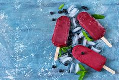 Blueberry ice cream on a stick with a blackberry. Cold berries sorbet with ice Stock Photos