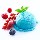 Blueberry icecream with chilled red fruits royalty free stock photos