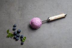 Blueberry icecream refreshment gelato diet sweet home made. Gluten free royalty free stock photo