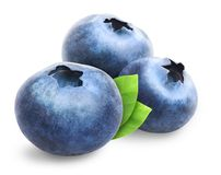 Three blueberries isolated. Blueberry isolated. Three blueberries with leaves isolated on white background. Clipping path included stock photos