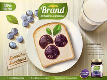 Blueberry jam ads. Blueberry shape coating spread on toast, top view of wooden table, 3d illustration royalty free illustration