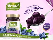 Blueberry jam ads. A full spoon of jam and glass jar surrounded by fresh berries, 3d illustration royalty free illustration