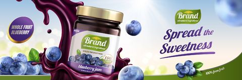Blueberry jam ads. With splashing liquid pouring down from sky on bokeh background, 3d illustration royalty free illustration