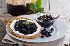 Blueberry jam on bread Stock Photos