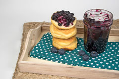 Blueberry jam and bread roll stack Royalty Free Stock Photography