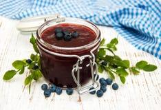 Blueberry jam and fresh blueberries Stock Photo