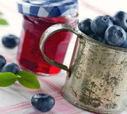 Blueberry jam in a glass jar Stock Image