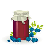 Blueberry jam jar with fresh berry on white Royalty Free Stock Photo