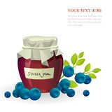 Blueberry jam jar with fresh berry on white Stock Images