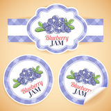 Blueberry jam labels Stock Photography