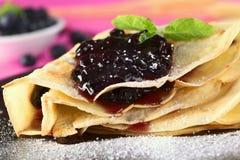 Blueberry Jam on Pancake Royalty Free Stock Image