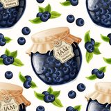 Blueberry jam seamless pattern Stock Photo