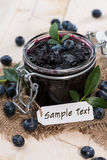 Blueberry Jam with small label Royalty Free Stock Photography