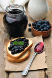 Blueberry jam on toast bread Royalty Free Stock Image