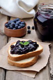 Blueberry jam on toast bread Royalty Free Stock Photography