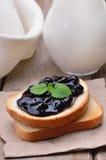 Blueberry jam on toast Royalty Free Stock Photography