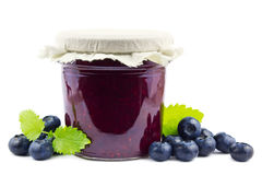 Blueberry jam on white Royalty Free Stock Image