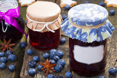 Blueberry jelly with label Stock Photos