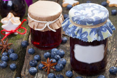 Blueberry jelly with label Royalty Free Stock Photography