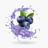 Blueberry juice Realistic Vector illustration. Blueberry juice splash Realistic Vector illustration Royalty Free Stock Images