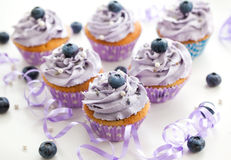 Blueberry and lavender cupcakes Stock Image