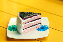 Blueberry layer cake. On white dish Royalty Free Stock Images