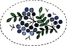 Blueberry and leaves floral design pattern Royalty Free Stock Image