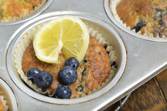 Blueberry lemon muffins. Royalty Free Stock Photos
