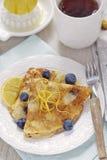 Blueberry lemon pancakes stock photography