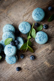 Blueberry macaroons Stock Images