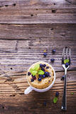 Blueberry Microwave Muffin in mug . Selective focus Stock Images